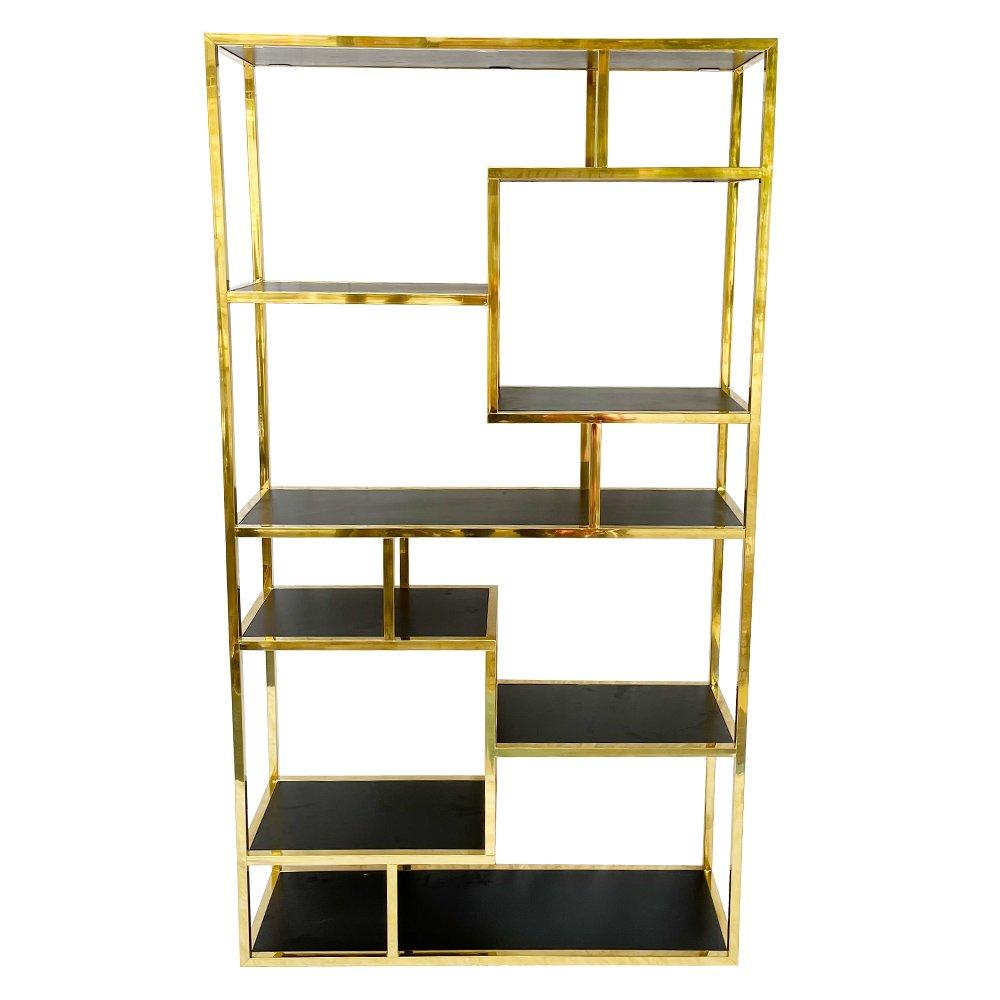 Kệ sách khung inox 304 vuông 20mm xi mạ vàng đồng