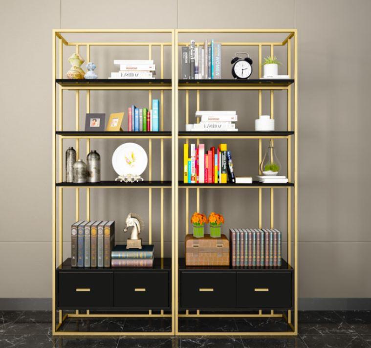 Kệ sách trang trí khung inox xi mạ vàng đồng