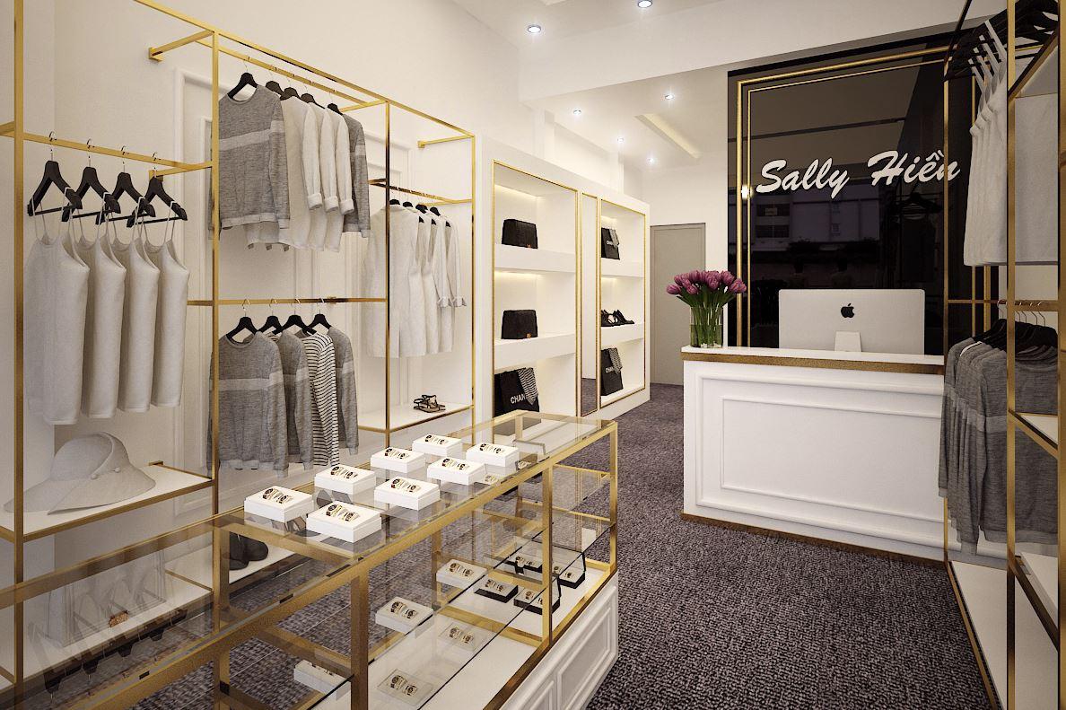 Shop quần áo và phụ kiện với giá kệ khung inox xi mạ vàng đồng