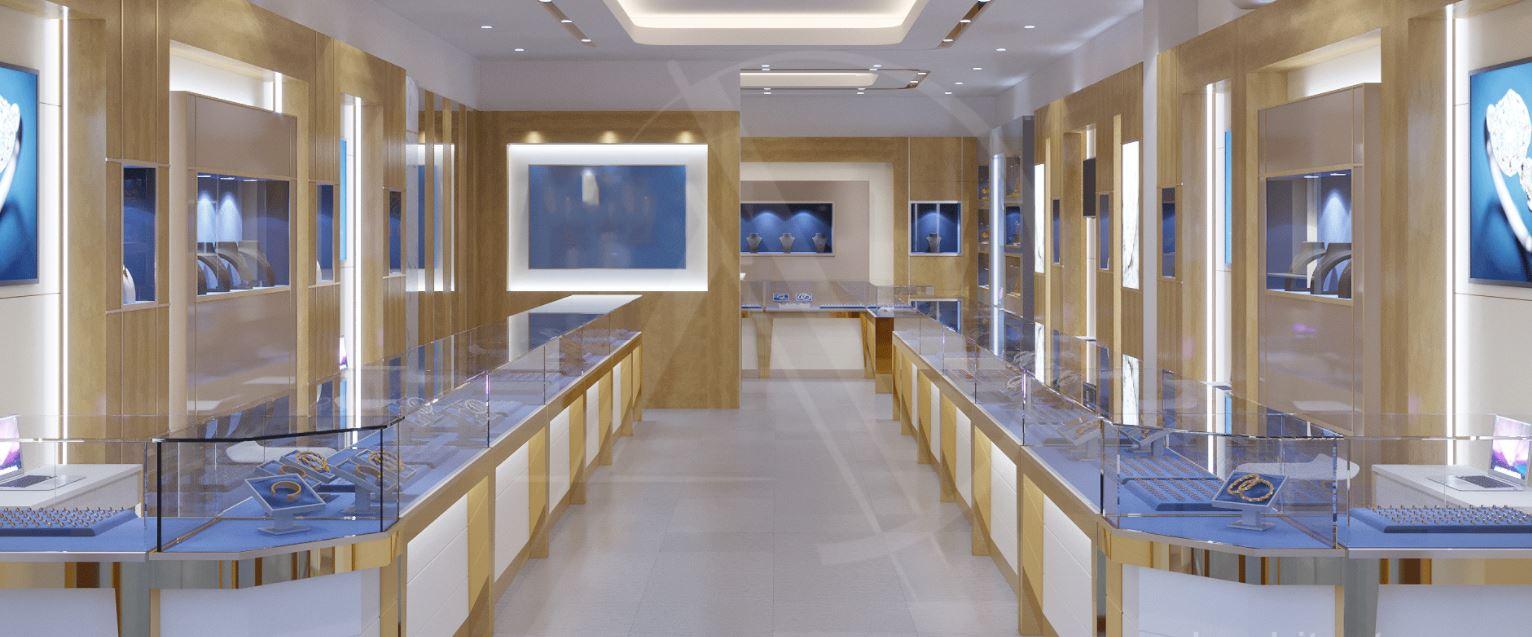 Một thiết kế tiệm vàng với inox xi mạ vàng đồng