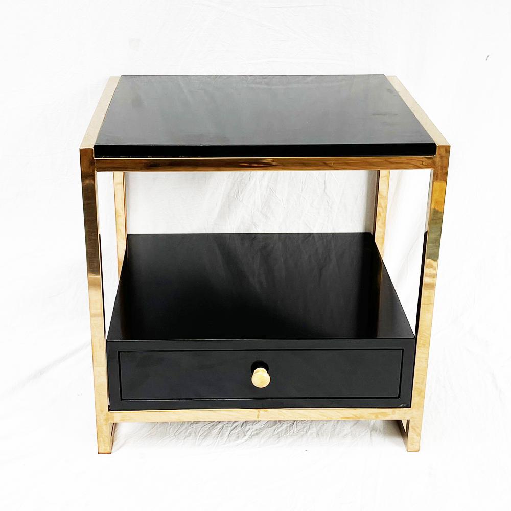 Tủ đầu giường khung inox xi mạ vàng đồng