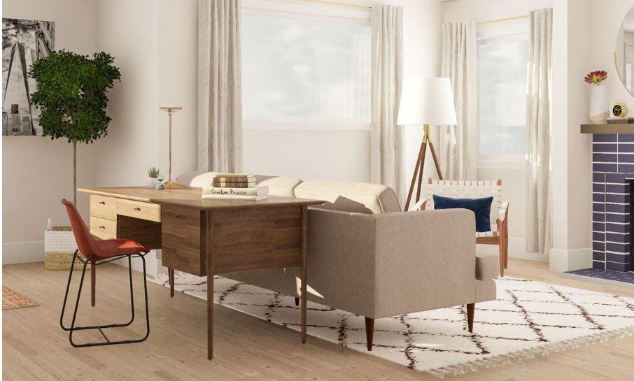 Tận dụng khoảng không bên cạnh sofa đặt bàn làm việc