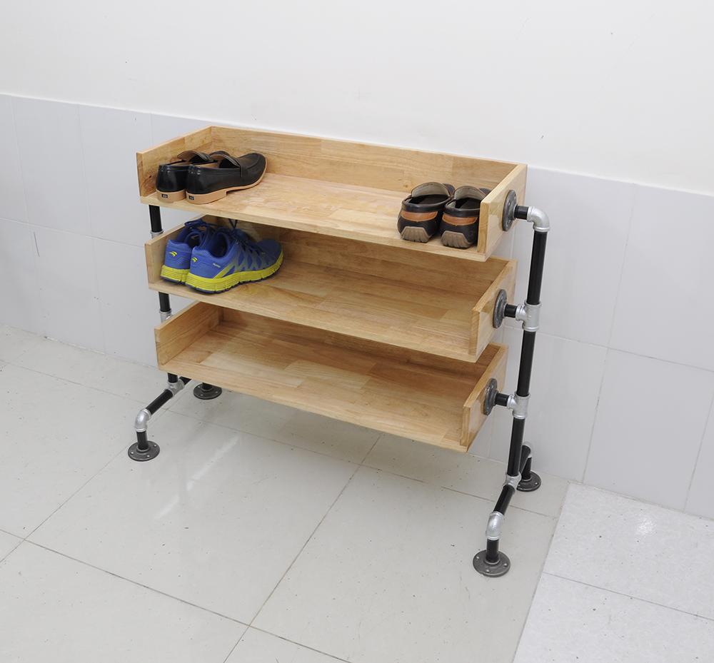 Kệ giày bằng gỗ ống nước 3 tầng hiện đại