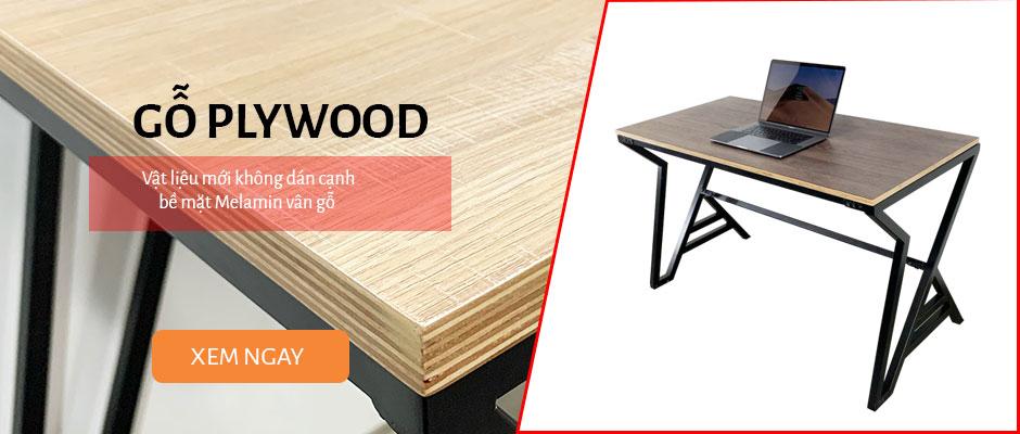 bàn làm việc gỗ Plywood chân sắt lắp ráp