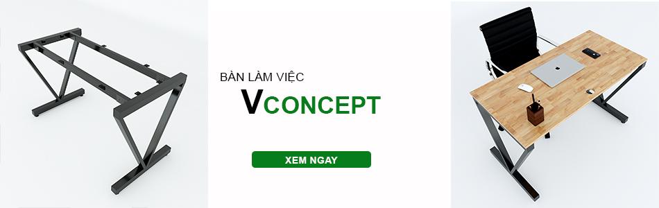 bàn làm việc hệ Vconcept chân chữ V