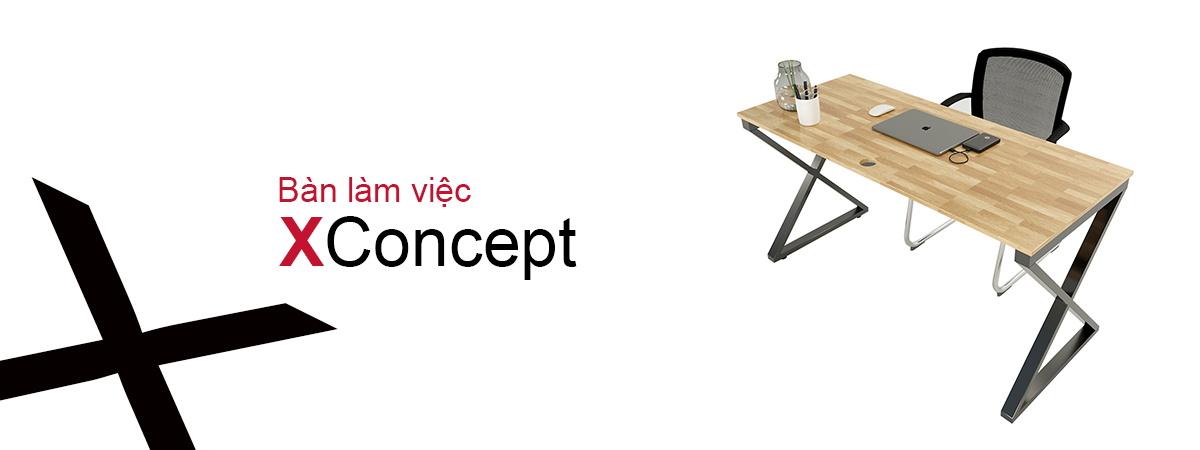 bàn làm việc hệ Xconcept chân sắt chữ X