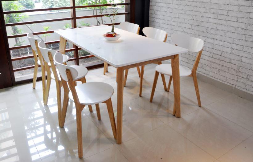 Băn ăn 6 người ngồi kiếu dáng đơn giản, nhẹ nhàng