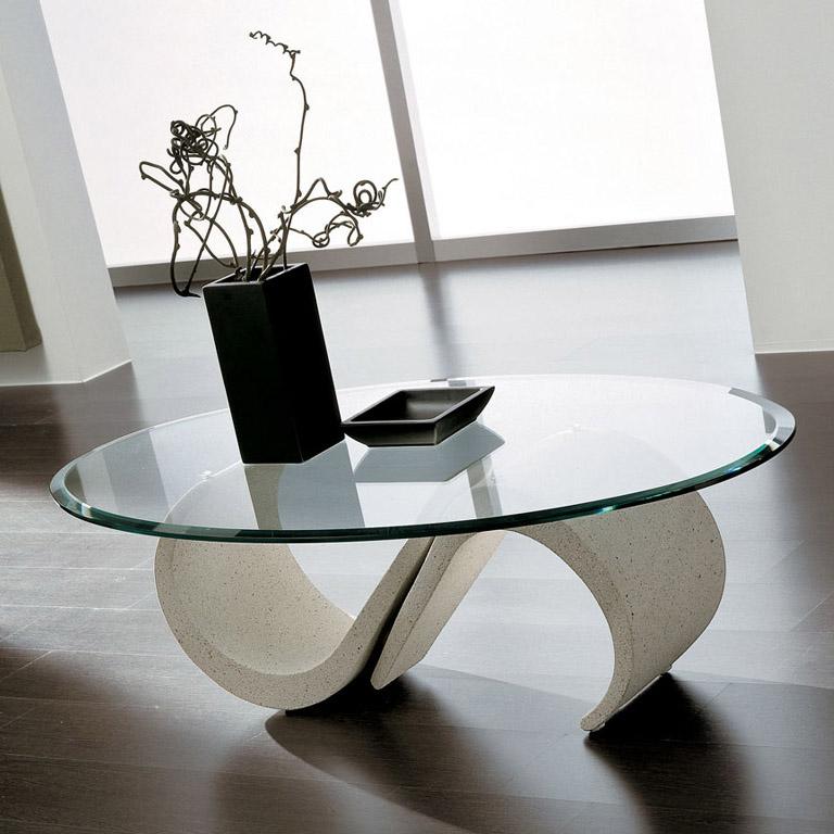 bàn trà phòng khách kính