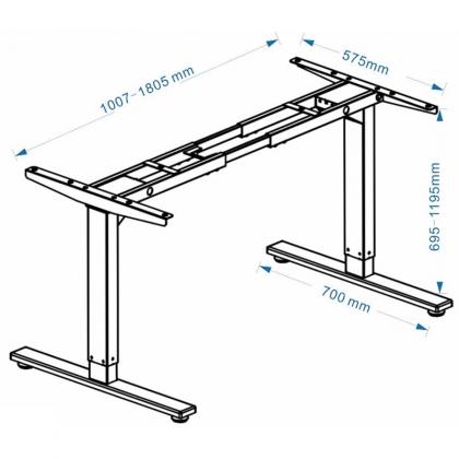Chân bàn tăng giảm chiều cao điện 2 khớp dưới - HONT33-2AR2E