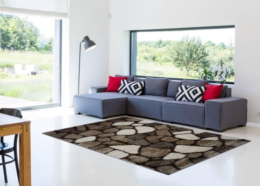 Thảm lông xù phòng khách kiểu gạch sắp xếp