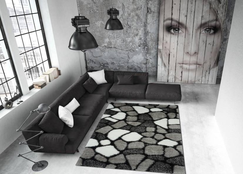Thảm lông xù phòng khách kiểu gạch xắp xếp 2