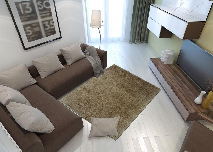Thảm lông xù phòng khách màu nâu vàng