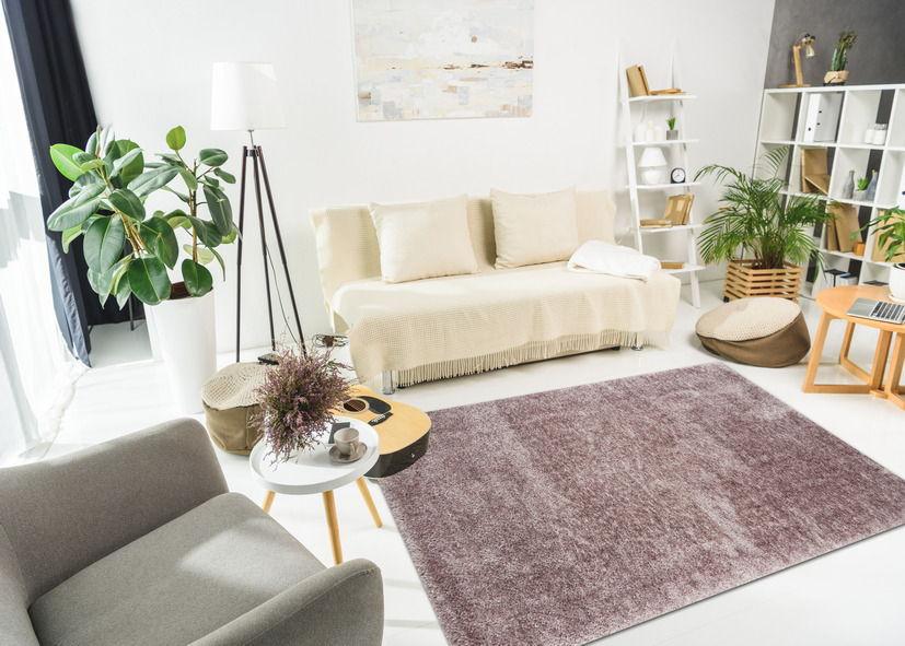 Thảm lông xù phòng khách màu tím