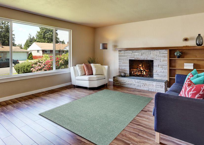 Thảm lông xù phòng khách màu xanh rêu
