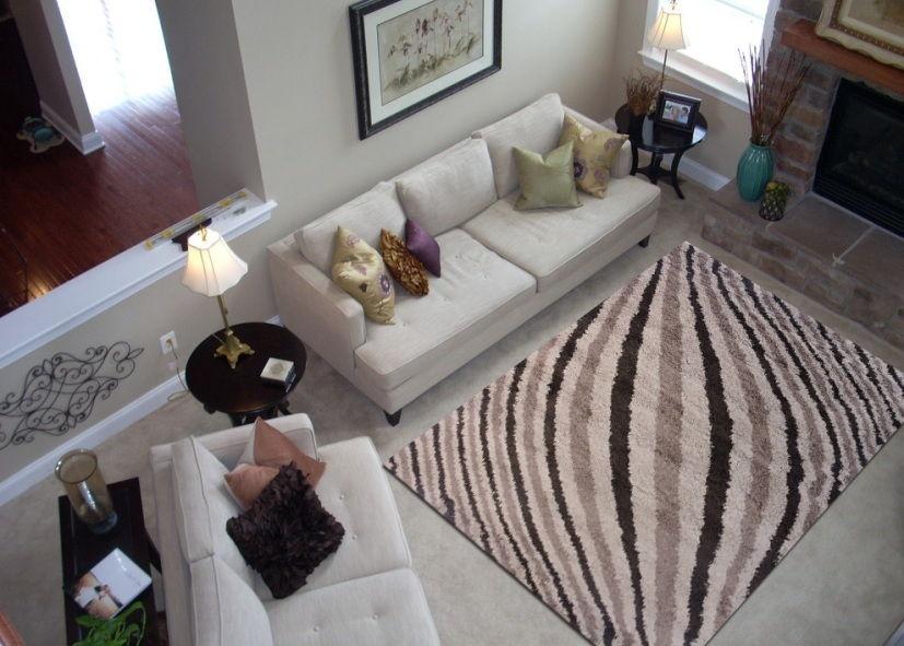 Thảm lông xù phòng khách họa tiết