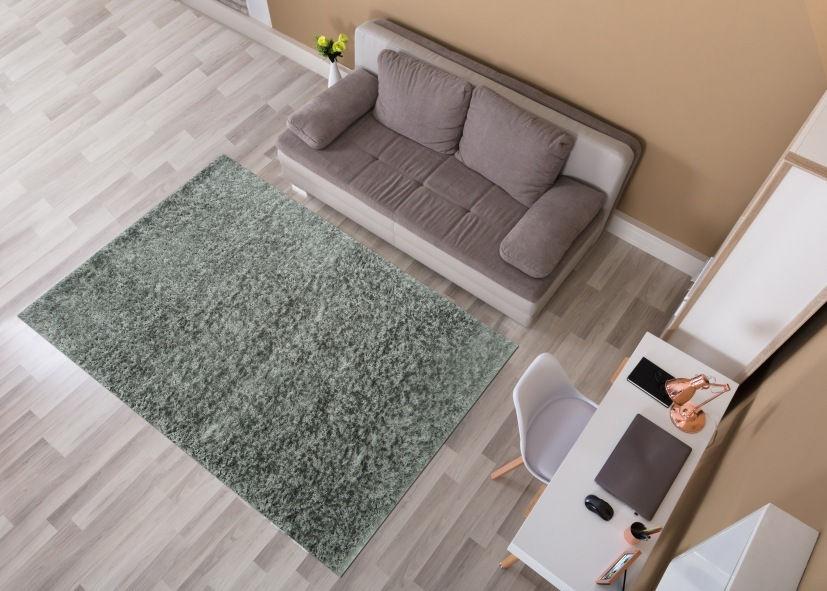 Thảm lông xù sofa phòng khách xanh rêu