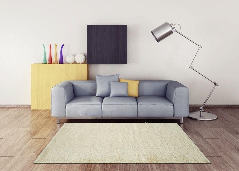 Thảm lông xù phòng khách màu kem