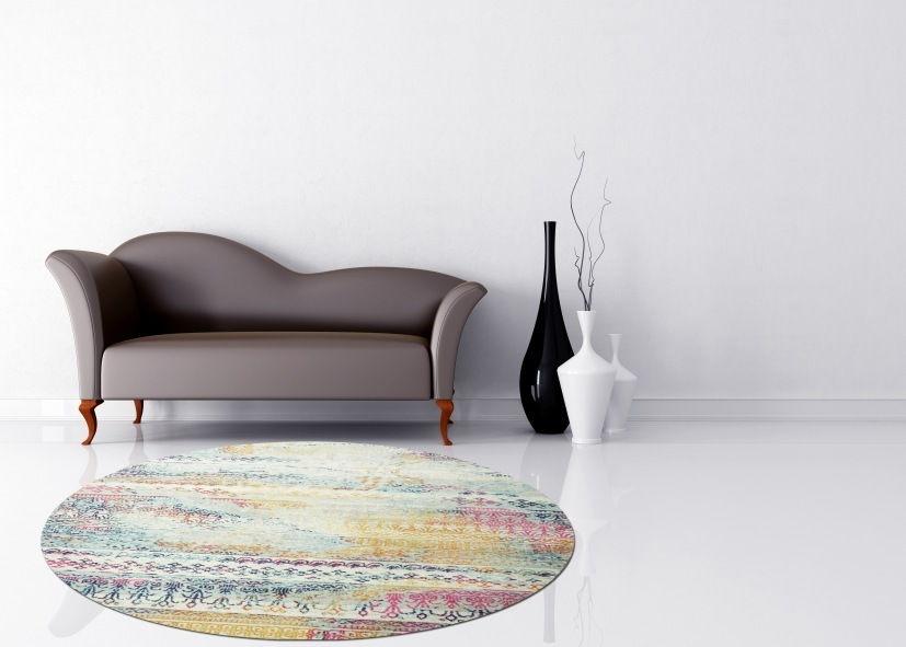 Thảm phòng khách sợi ngắn hoa văn sáng tạo hình tròn