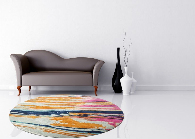 Thảm sợi ngắn phòng khách hình tròn hoa văn nghệ thuật