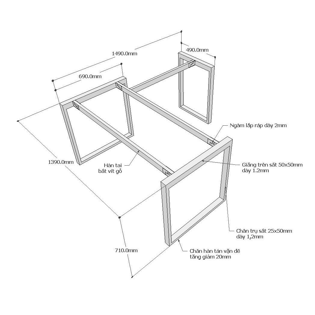 Chi tiết kích thước chân sắt bàn góc L rectang 150x140cm