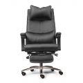 HOM1058-01 - Ghế giám đốc màu đen, lưng cao, chân nhôm, 2 cần điều khiển