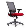 HOM1008-03 - Ghế xoay lưng cao có nệm màu đỏ, chân nhựa, 1 cần điều khiển
