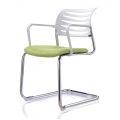 HOCQ68014 - Ghế chân quỳ phòng họp lưng nhựa màu trắng, nệm màu xanh lá, có tay ghế