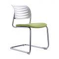 HOCQ68013 - Ghế chân quỳ phòng họp lưng nhựa màu trắng, nệm màu xanh lá