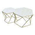 Bộ Bàn Sofa mặt đá trắng khung vàng đồng TT68122