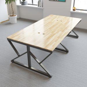 BNV68050 - Bàn cụm 4 chỗ 120x240cm gỗ cao su chân sắt chữ K lắp ráp