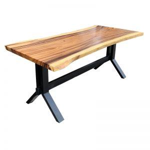 BMT008 - Bàn gỗ me tây dày 5cm 80x160cm chân sắt