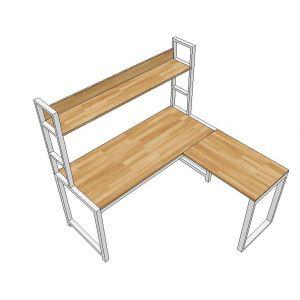 CD68009 - Bàn CornerDesk có kệ 148x140cm gỗ cao su chân sắt lắp ráp
