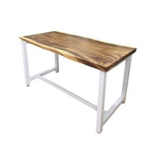 BMT006 - Bàn làm việc gỗ me tây chân sắt sơn trắng (70x140x75cm)