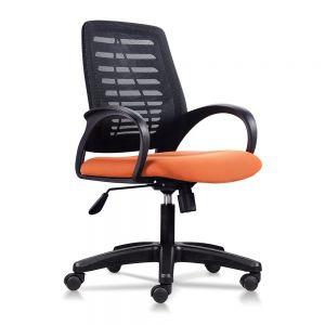 HOM1018-02 -  Ghế nhân viên lưng lưới màu đen, nệm màu cam hoặc màu vàng năng động