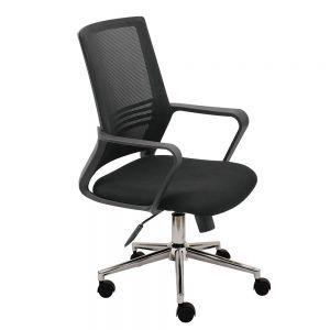 HOM1051-01 - Ghế xoay màu đen tay nhựa cố định, chân sắt