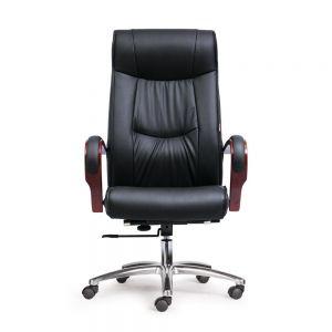 HOM1028-01 - Ghế xoay lưng cao màu đen, tay gỗ, 2 cần điều khiển,chân nhôm