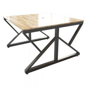 BNV68051 - Bàn cụm 2 chỗ 120x120cm gỗ cao su chân sắt K lắp ráp