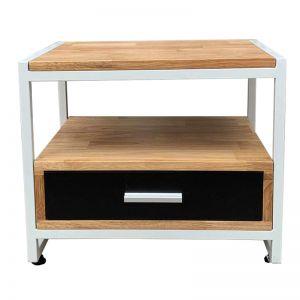 TDG68011 - Tủ đầu giường khung sắt gỗ cao su (50x40x40cm)