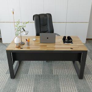 BGD68040 - Bàn giám đốc 80x160cm gỗ cao su chân sắt hộp 40x80mm
