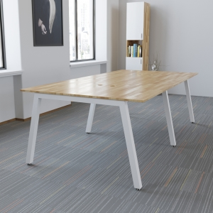BNV68063 - Bàn cụm 4 gỗ cao su chân sắt vuông 50mm lắp ráp (120x240x75cm)