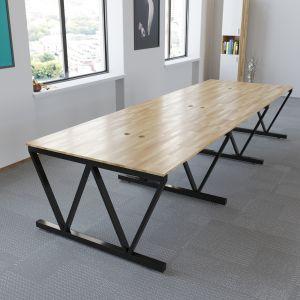 BNV68065 - Bàn cụm 6 chỗ 120x360cm gỗ cao su chân sắt Concept V lắp ráp