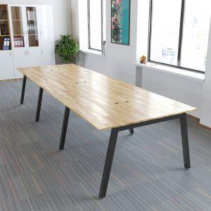 BNV68066- Bàn cụm 6 chỗ gỗ cao su chân sắt vuông 50mm