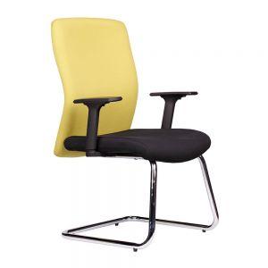 HOCQ68012 - Ghế chân quỳ phòng họp lưng màu vàng, nệm màu đen