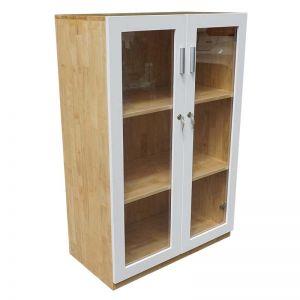 Tủ hồ sơ cao 120cm 3 tầng gỗ cao su cửa kính THS68015