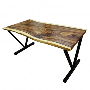 BMT011 - Bàn gỗ me tây dày 5cm chân sắt chữ V (80x160x78cm)