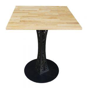 Bàn Cafe vuông 60cm gỗ cao su chân sắt hoa văn CFD68026