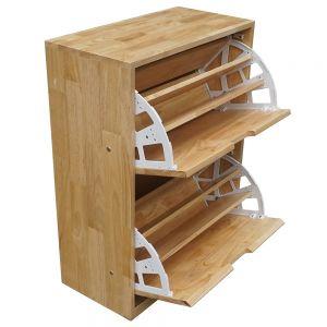 KG68016 - Tủ gỗ để giày 2 ngăn màu tự nhiên 60x30x82cm