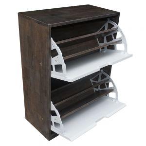 KG68017 - Tủ gỗ để giày 2 ngăn màu nâu lau 60x30x82cm