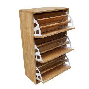 KG68014 - Tủ gỗ để giày 3 ngăn màu tự nhiên 60x30x100cm