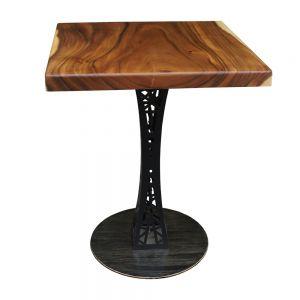 BMT015 - Bàn cafe gỗ me tây dày 5cm chân sắt (60x60x75cm)